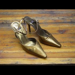 Stuart Weitzman Gold Pointy Toe Ankle Strap Pumps